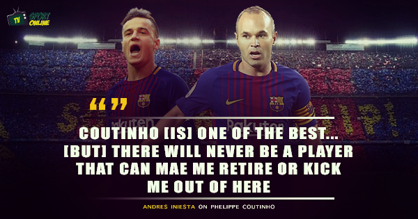 Andres Iniesta 'Not Worried' About Losing Barcelona Place Despite Coutinho's Arrival