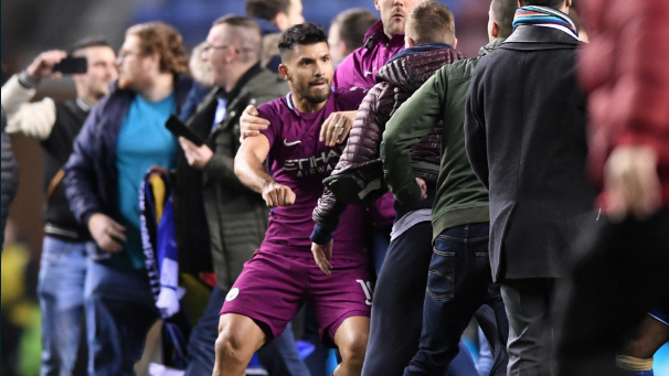 Man City striker Aguero clashes with fan after game