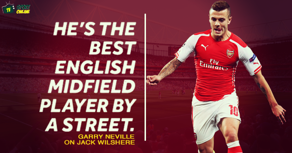 Gary Neville: Jack Wilshere is 'best English midfield player by a street'