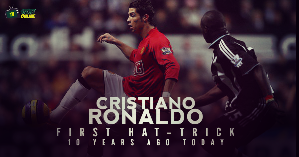 ON THIS DAY IN 2008, CRISTIANO RONALDO SCORED HIS FIRST HAT-TRICK FOR MANCHESTER UNITED